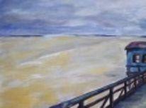 Ölmalerei, Nordsee, Meer, Strand