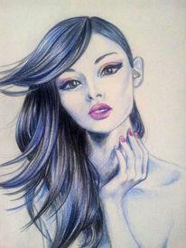 Zeichnung, Blau, Frau, Portrait