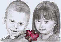 Bleistiftzeichnung, Schwestern, Junge, Bruder