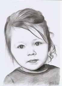 Kind, Blond, Bleistiftzeichnung, Mädchen