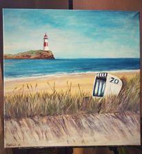 Leuchtturm, Strandkorb, Strand, Himmel