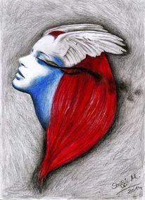 Engel, Rot, Blau, Haare