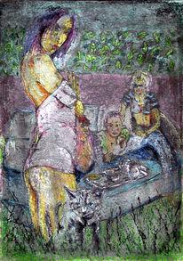 Blau, Acrylmalerei, Frau, Emanzipation