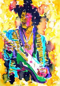 Tusche, Musiker, Hendrix, Farben