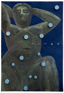 Blaue tabletten, Skulptur, Jungfrau, Frau