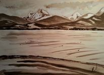 Berge, See, Landschaft, Aquarellmalerei