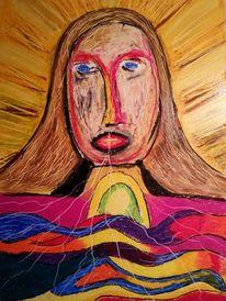 Kirche, Zeichnung, Pastellmalerei, Jesus