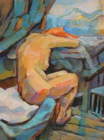 Akt, Acrylmalerei, Frau, Figural