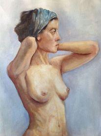 Leinen, Ölmalerei, Frau, Skulptur