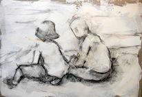 Menschen, Licht, Zeichnung, Am strand