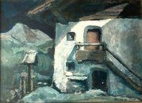 Haus, Bauer, Bildstock, Landschaft