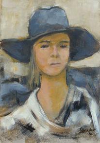 Portrait, Gefühl, Acrylmalerei, Blau