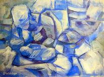 Kind, Blau, Mutter, Malerei