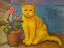Katze, Blumen, Tisch, Topf