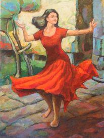 Frühling, Tanz, Rotes kleid, Frau