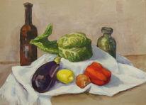 Stillleben, Zwiebeln, Tischtuch, Küche