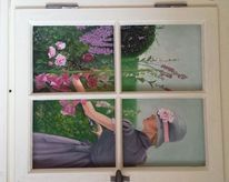 Blumen, Ölmalerei, Modern, Frau