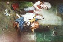 Kind, Puppenschneiderei, Puppe, Ölmalerei