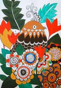 Mandala, Figural, Vogel, Acrylmalerei