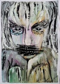 Schwarz, Frau, Surreal, Acrylmalerei
