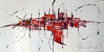 Abstrakt, Grau, Acrylmalerei, Rot schwarz