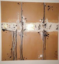 Acrylmalerei, Gold, Marmormehl, Kupfer