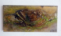 Spachtel, Abstrakt, Herbsttöne, Marmormehl