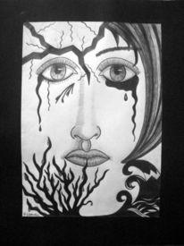 Gesicht, Zeichnung, Kontrast, Bleistiftzeichnung