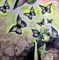 Schmetterling, Gedanken, Neon, Flüchtig