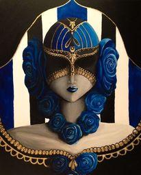 Maske, Gold, Gesicht, Rose