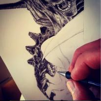 Alien, Zeichnung, Arbeiten, Bleistiftzeichnung