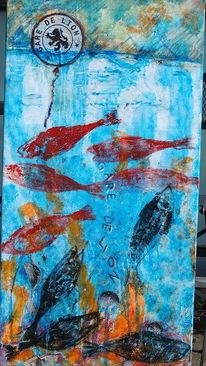 Acrylmalerei, Wasser, Collage, Meer
