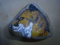 Stein, Fuchs, Tiere, Acrylmalerei