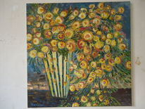 Blumen, Vase, Bunt, Gelb