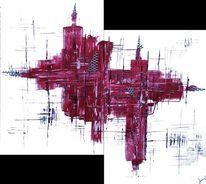 Rot, Weiß, Lochblech, Abstrakt