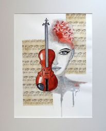 Geige, Geburtstag, Aquarellmalerei, Handarbeit
