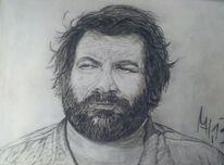 Bud spencer, Kohlezeichnung, Carlo pedersoli, Portrait