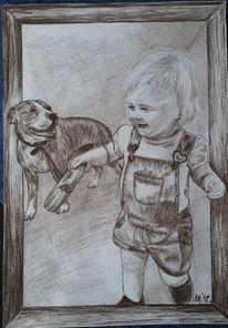 Sepia, Tiere, Kohlezeichnung, Zeichnung