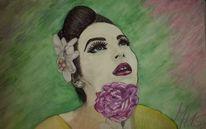Model, Schönheit, Rose, Malerei