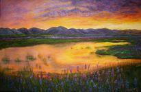 Sonnenuntergang, Gold, Lila, Malerei