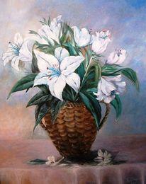Blumen, Lilien, Blau, Malerei