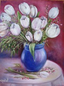 Weiß, Tulpen, Ölmalerei, Malerei