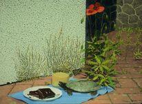 Garten, Gemälde, Schildkröte, Schatten