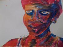 Gesicht, Portrait, Botschaft, Frau