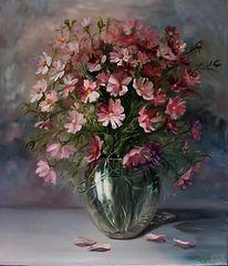 Tisch, Vase, Rosa, Blumenstrauß