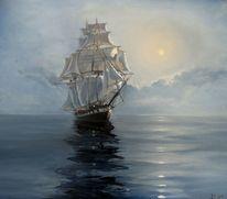 Ölmalerei, Wolken, Schiff, Sonne