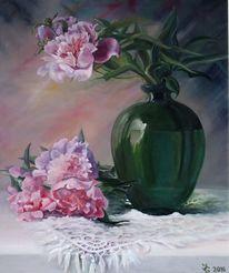 Glasvase, Pink, Tisch, Pfingstrosen