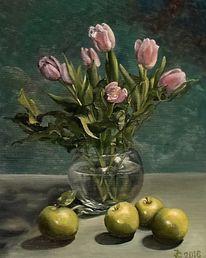 Tulpen, Ölmalerei, Blumen, Pink