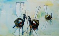 Nebel, Spiegelung, Boot, Fischer