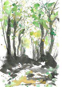 Frühling, Grün, Baum, Aquarell